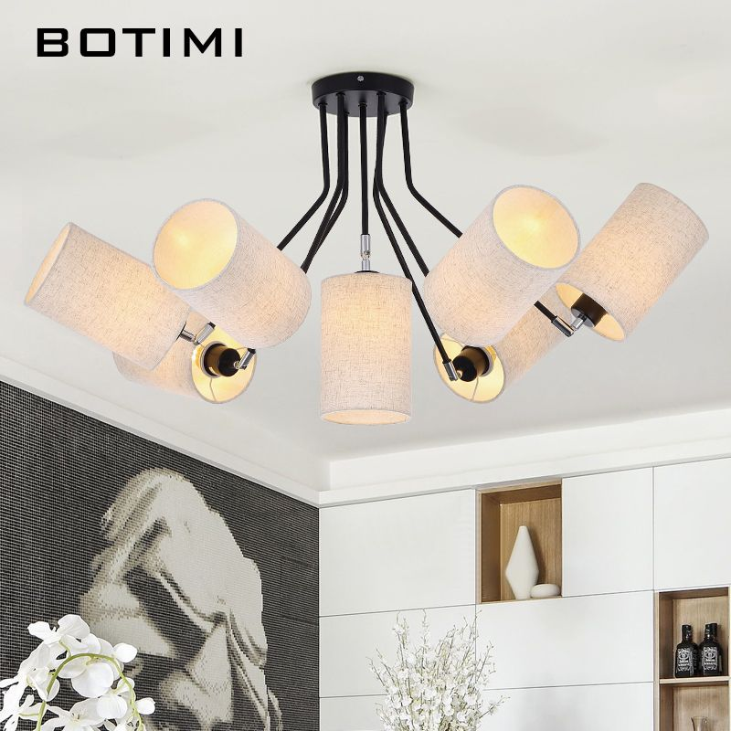 BOTIMI American Chandelier Modern LED Chandeliers Lighting For Living Room Lustres Pendente White Black E27 Lampshades Lightings