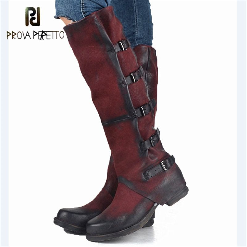 Prova Perfetto Original High Quality Genuine Leather Buckle Do Old Knee High Boots Solid Zipper Square Toe Warm Mid Heel Boots