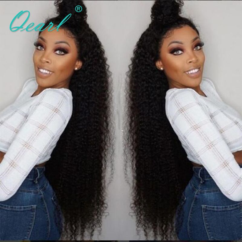 Qearl Curly Lace Front Wigs Human Hair Lace Wig Kinky Curly Wigs Brazilian Remy Hair Glueless Wig With Baby Hair 24