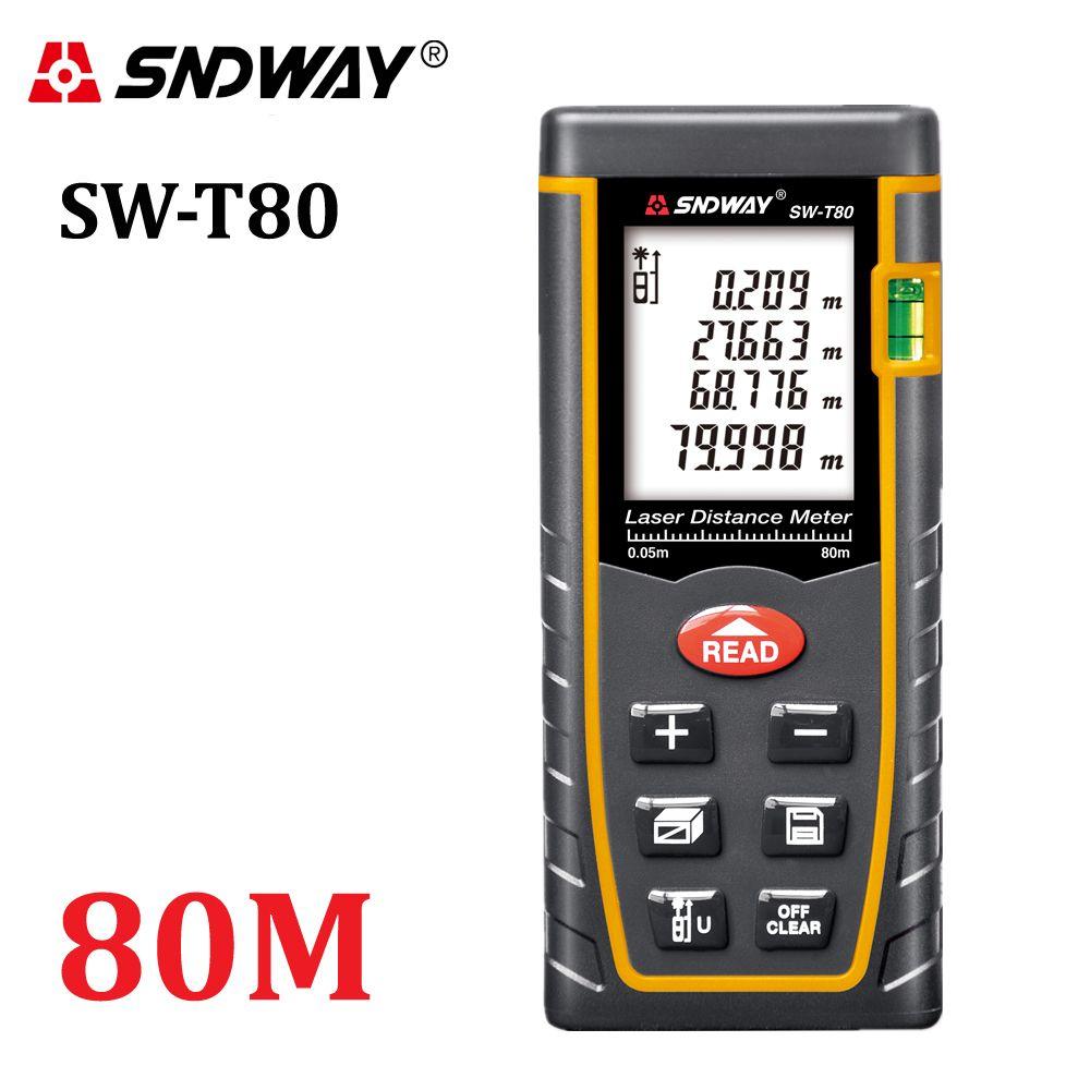 SNDWAY T80 télémètre laser télémètre 80 m 262ft trena laser niveau à bulle télémètre bâtiment mesure ruban testeur outils