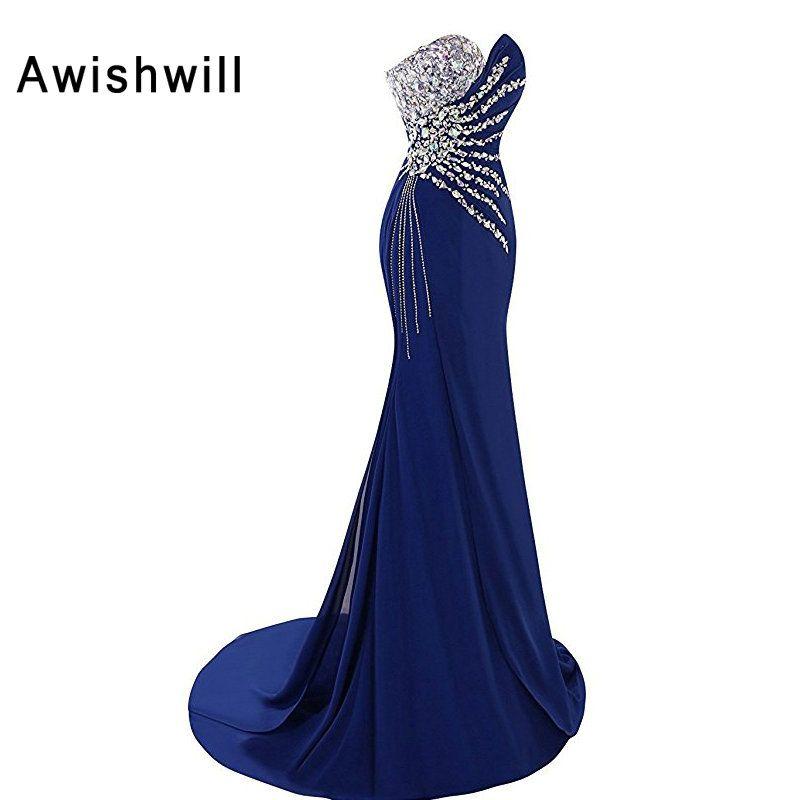 Royal Blue Color Sexy Long Evening Dresses 2018 Floor-length Handmade Beadings Mermaid Formal Evening Gowns Women Robe De Soiree
