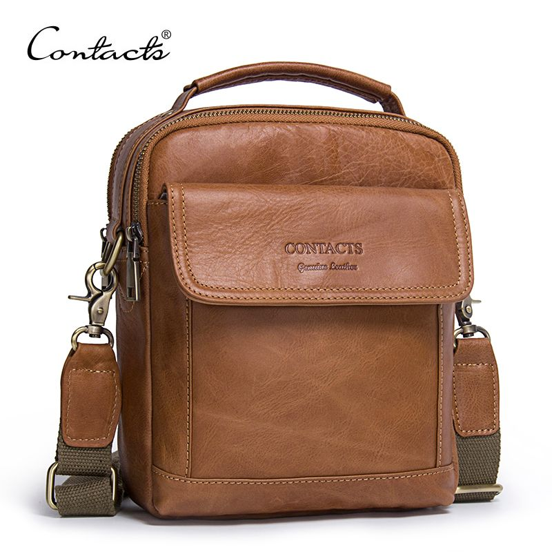 CONTACT'S <font><b>Genuine</b></font> Leather Shoulder Bags Fashion Men Messenger Bag Small ipad Male Tote Vintage New Crossbody Bags Men's Handbags