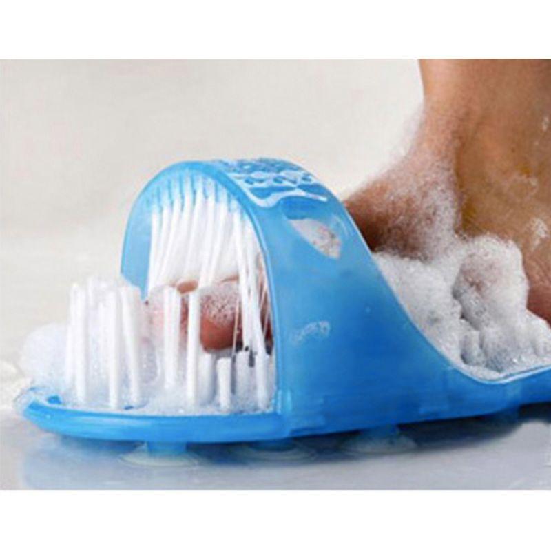 Nouvelle Chaude En Plastique Chaussures De Bain Pierre Ponce Pied Laveur Douche Brosse Masseur Pantoufles Bleu