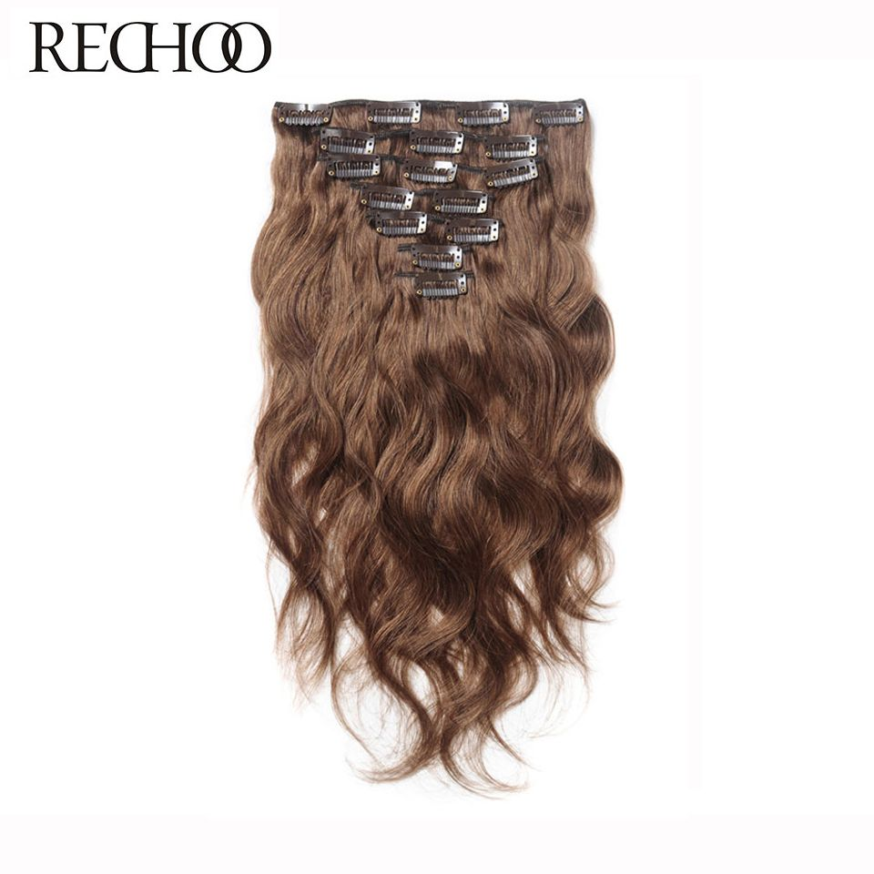Rechoo Body Wave 100% Human Hair Clip In Extensions Full Head Set Peruvian Machine Made Remy Hair Clips Brown 16 18 22 24 Inch