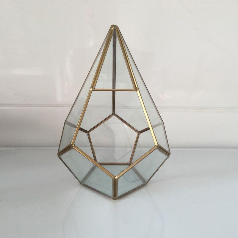 Pot pour fleurs fait main prisme verre Terrarium Air plante pot géométrique Terrarium laiton géométrique petite boîte verre vase pour plante