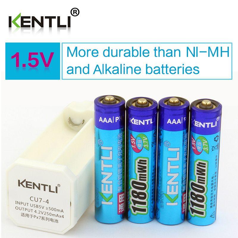 KENTLI 4 pièces faible autodécharge 1.5 v 1180mWh AAA lithium li-ion batterie rechargeable + 4 canaux chargeur intelligent au lithium