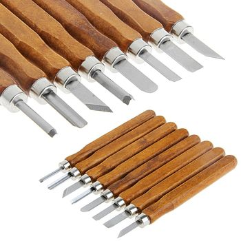 Wood Carving Tool Mini Chisel Steel Blades Assorted Wooden Handle 8Pcs-TwFi