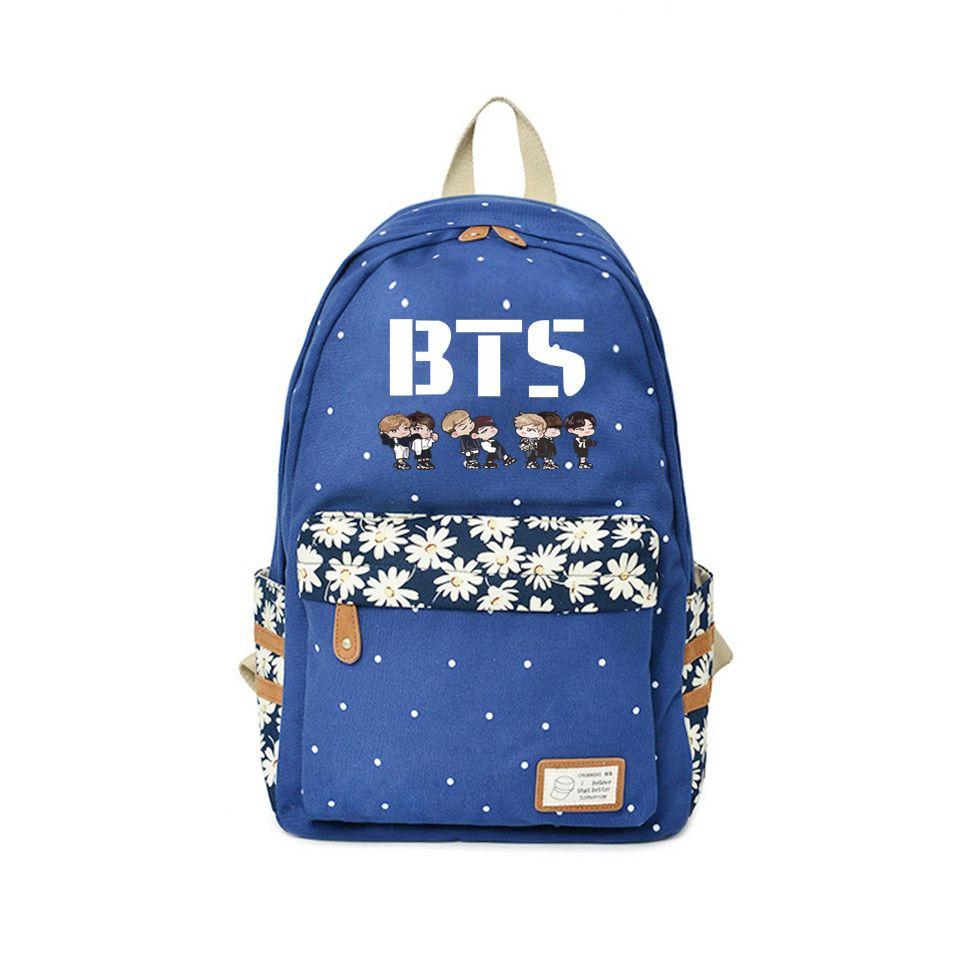BTS Anime Backpack Teens Flower wave point Rucksacks boy&girl Idol fans Exclusive travel School bags Kpop 2018 High quality