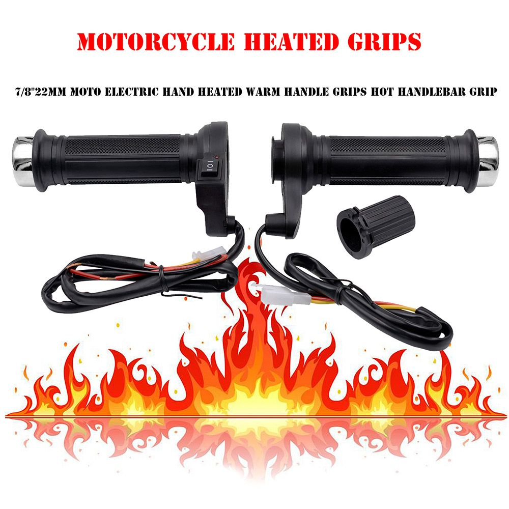 Heated Motorcycle Grips Handlebar Motorbike Heating Handle Heated Grips Set Universal Motocross Handlebars Heated Grip