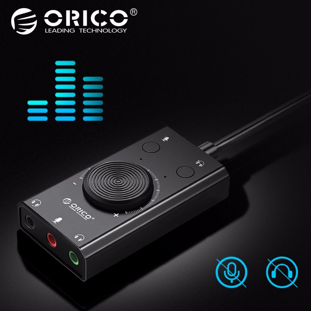 ORICO Portable USB Externe Carte Son Microphone Écouteurs Deux-en-Un Avec 3-Port Sortie Volume Réglable pour Windows/Mac/Linux