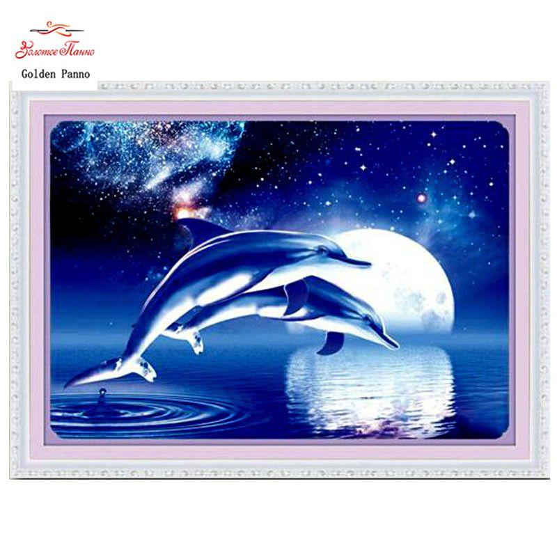 Panno doré, couture, broderie, bricolage peinture animale, point de croix, kits, 11ct deux dauphins point de croix, ensembles pour la broderie