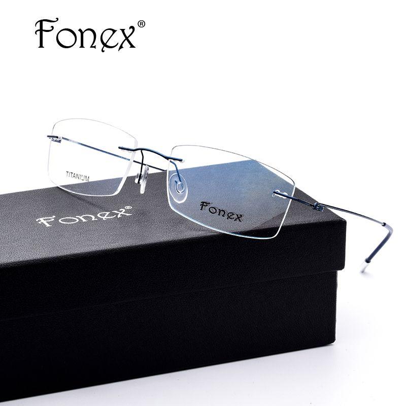 FONEX Aucun Vis Conception Ultra-Léger Sans Monture Titane Lunettes Cadre Hommes Prescription Carré Lunettes Myopie Optique Cadre Lunettes
