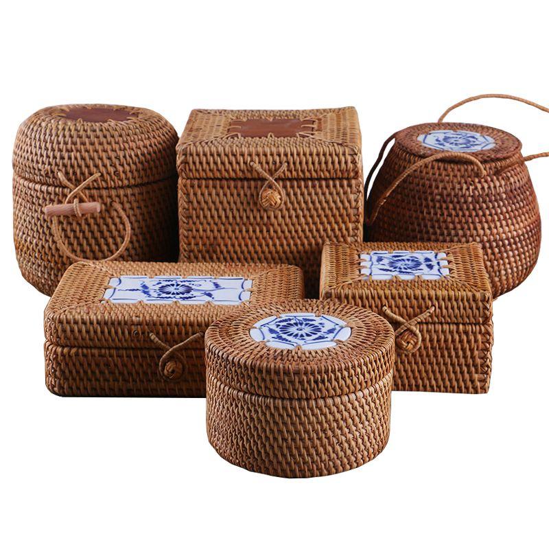 Boîte de rangement tissée en rotin avec couvercle boîtes à bijoux faites à la main organisateur de maquillage en bois pour articles divers