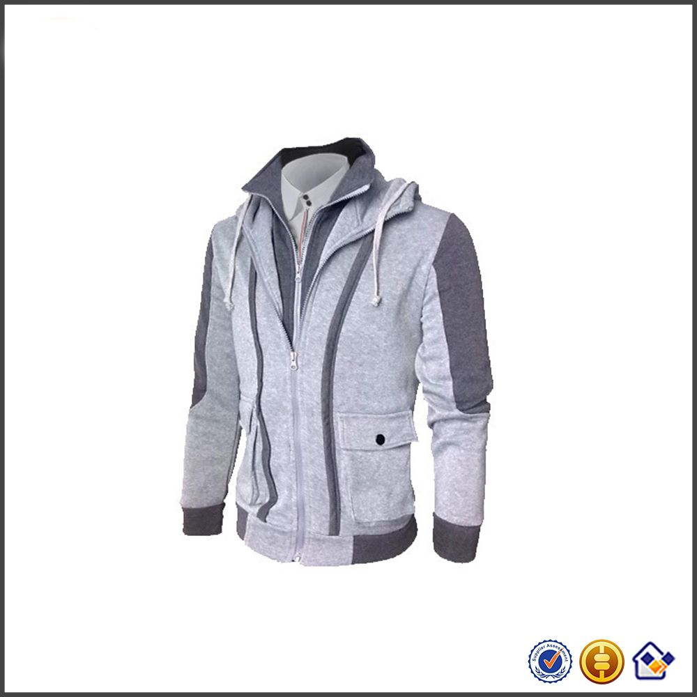 jersey grey contrast color Autumn winter clothing trade cardigan overalls coat fake two pieces stranger things hoodie