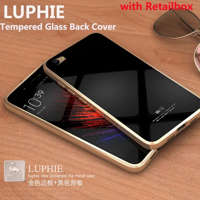 Tempered Glass Back Cover Case original Luphie Metal Frame For Xiaomi Mi5 M5 Mi 5 Aluminum Fundas Phone Cases