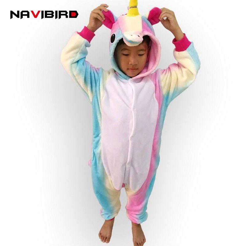 Niños animal Arco Iris Cosplay unicornio pijama franela invierno pijamas mujeres onesie con capucha para niños Halloween traje pijama
