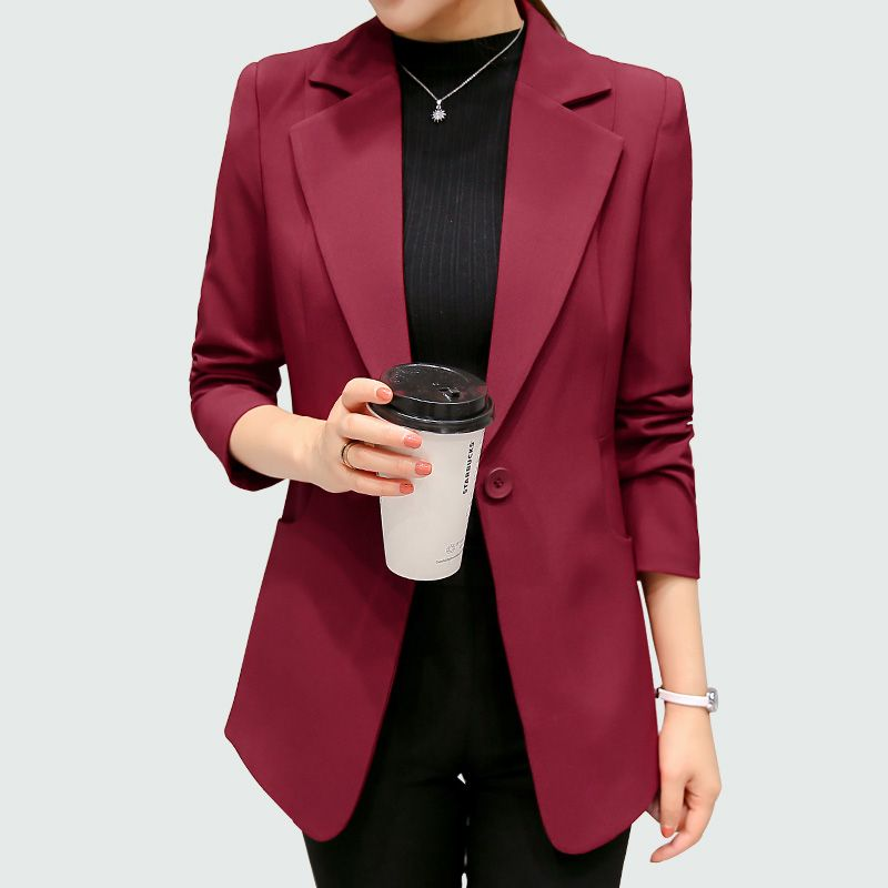 Wine Red Black Women Blazers And Jackets 2017 New Spring Autumn Fashion Single Button Blazer Femenino Ladies Blazer Female