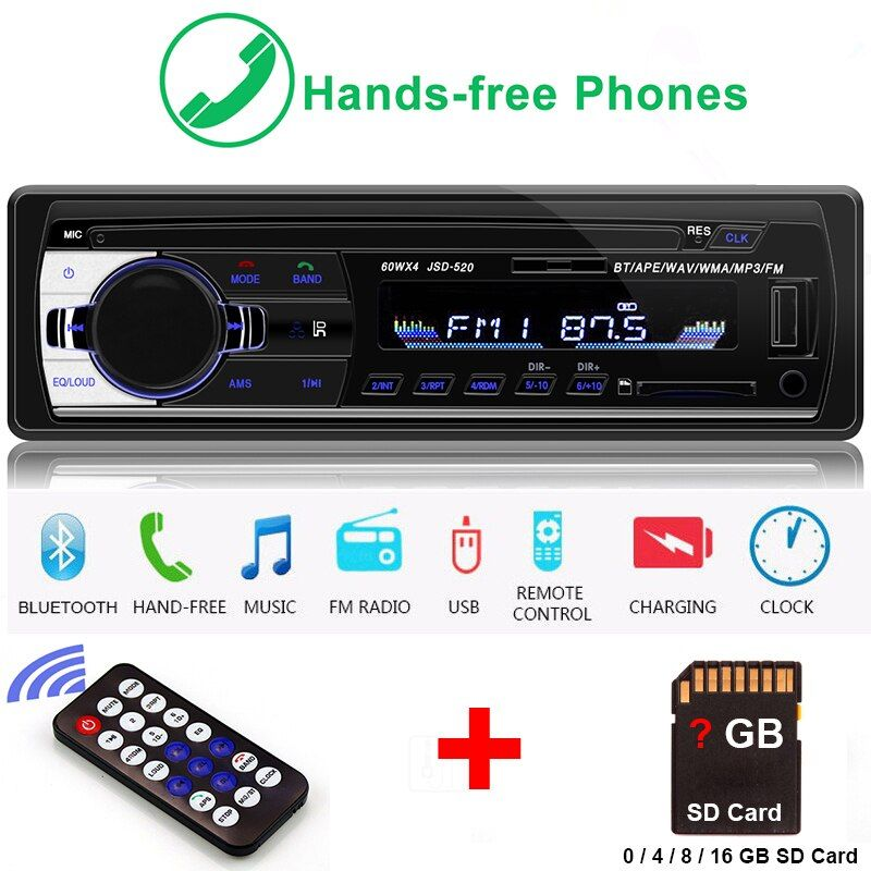 Radio Car Autoradio 1 Din Bluetooth SD MP3 Player Coche Radios Estereo Poste Para Auto Audio Stereo Carro Samochodowe Automotivo