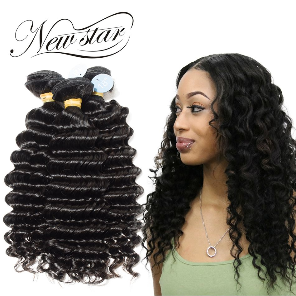 NEW STAR Deep Wave 3 Bundles 10-34 Inches Virgin Human Hair Extension Brazilian Unprocessed Cuticle Aligned Weave Natural Color