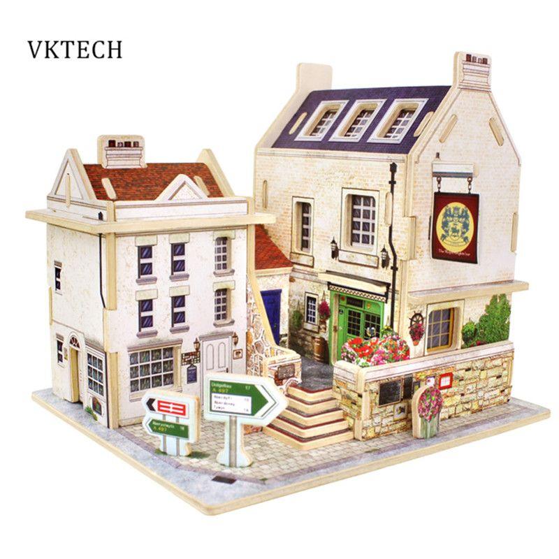 Casa de madera Juguetes de Los Niños la Construcción de Chalets en Pubs Británicos 3D Puzzle Juguetes Para Niños Rompecabezas de Madera Casa de Juguete Del Bebé Los Juguetes