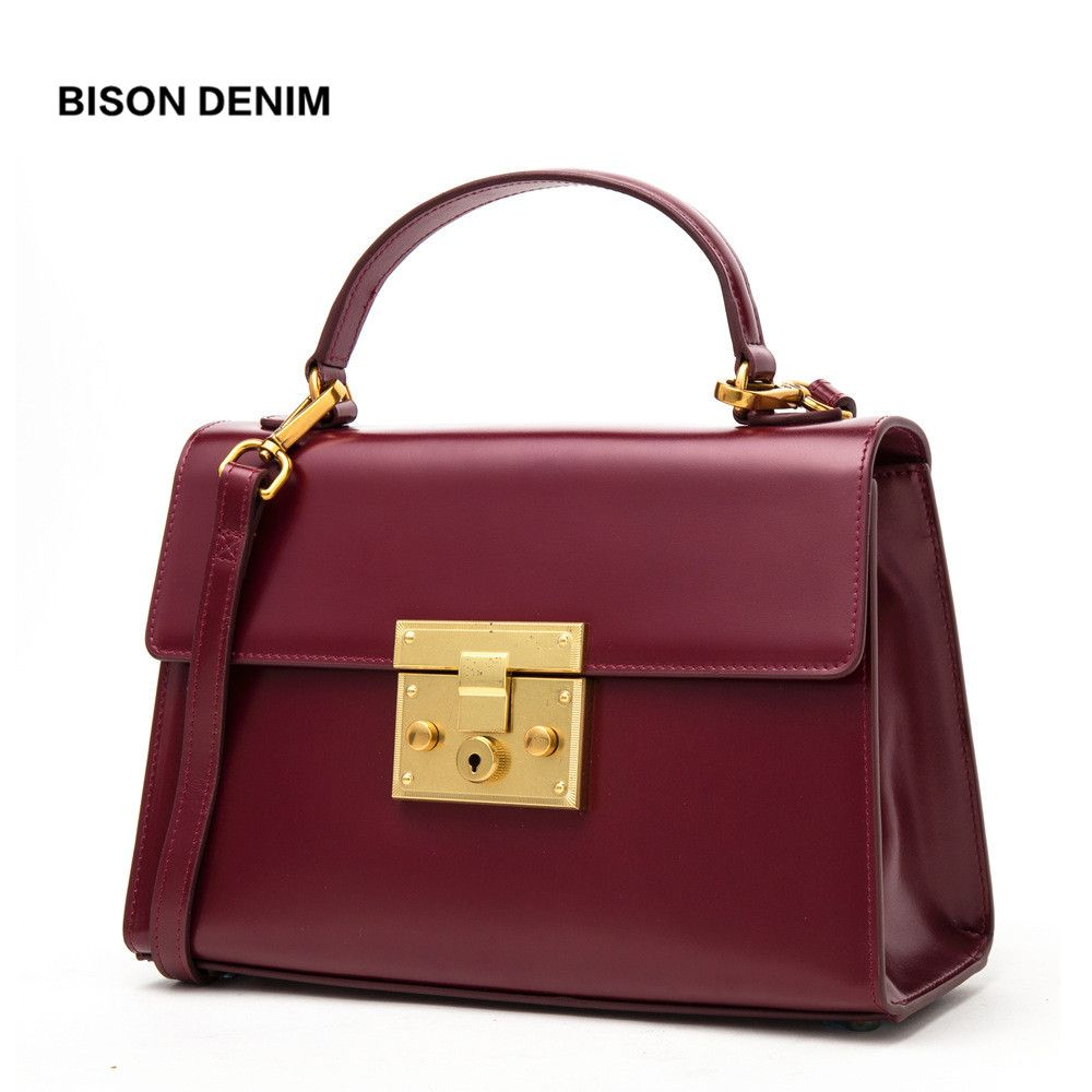 BISON DENIM Genuine Leather Women Bag Vintage Fashion women's handbags Luxury Handbags for women 2018 bolsa feminina N1400