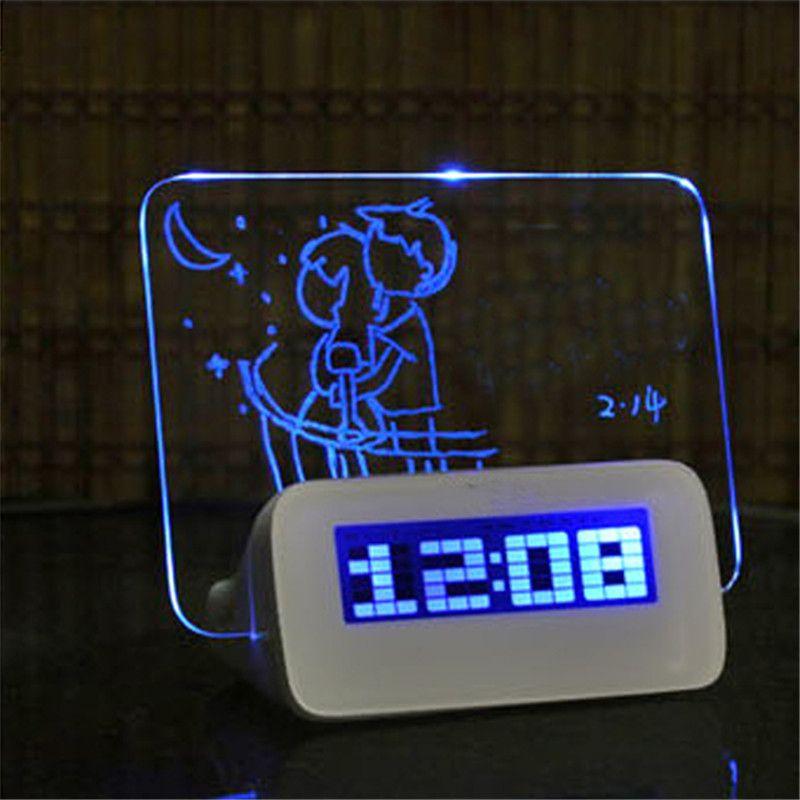 Blue LED Fluorescent Digital Alarm Clock with Message Board USB 4 Port Hub Desk Table Digital Alarm Clock With Calendar