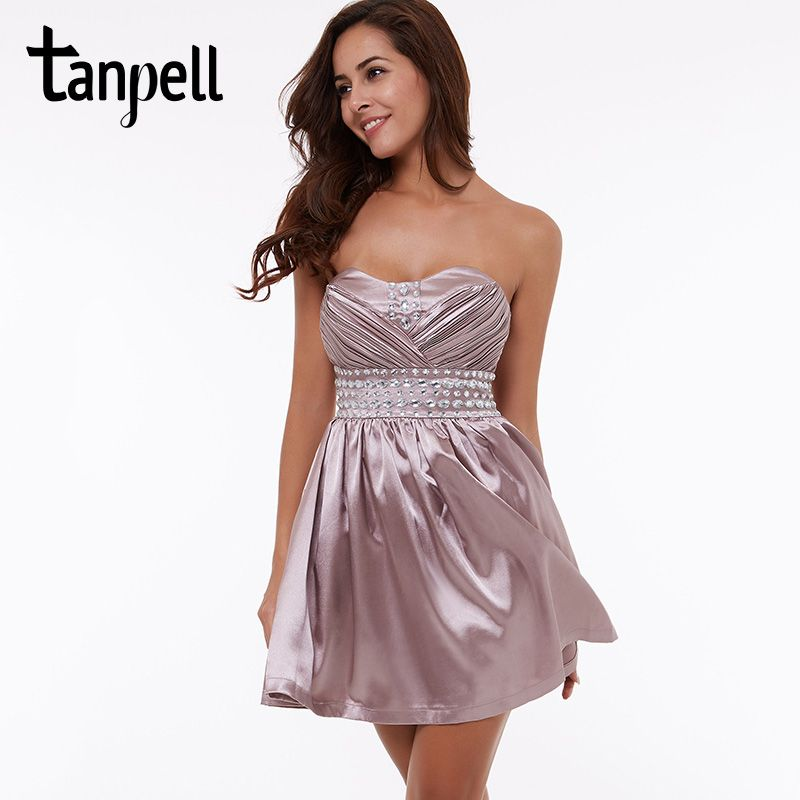 Tanpell short cocktail dress purple above knee length beaded a line dress cheap girls sleeveless draped party cocktail dresses