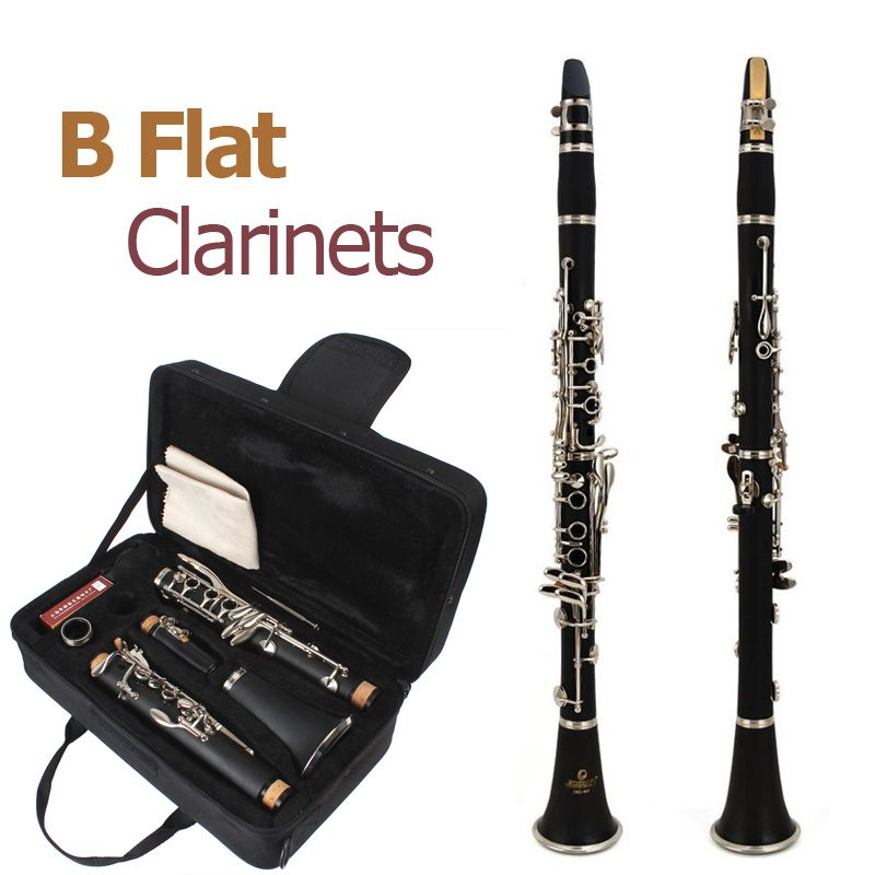 660mm Clarinet ABS Clarinet 17 Key bB Flat Soprano Binocular Clarinet with Cleaning Cloth 10 Reeds Screwdriver Case