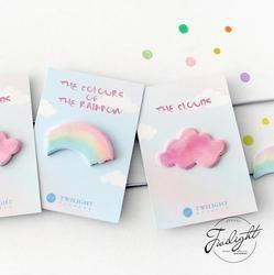 Warna Pelangi Awan Memo Pad Catatan Tempel Memo Notebook Perlengkapan Sekolah Escolar Stationery Papelaria