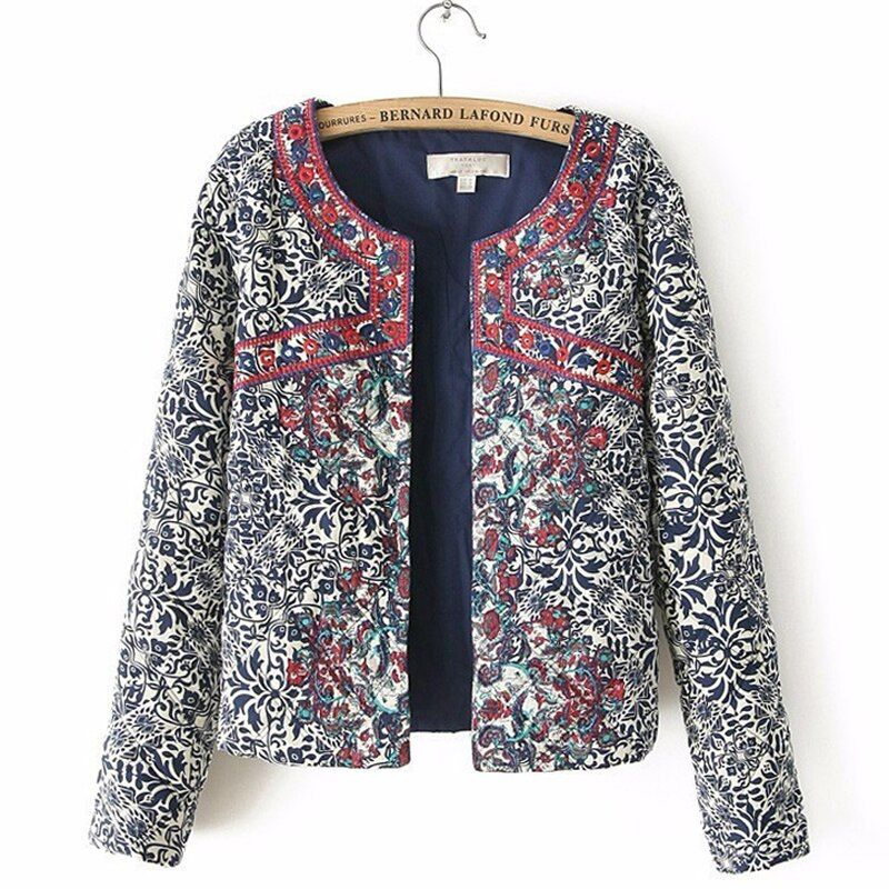 2017 spring autumn Retro Print Blue White Round Neck Full Sleeve Jacket Female Embroidered Coat For Women Embroidery Slim tops