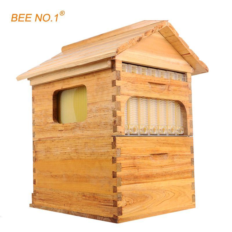 BEE NO.1 Beekeeping Tool Wooden Beehive Langstroth Bee Hive Honey Flow Hive 7 PCS Frames Beehive 65*55*23cm Beekeeping Tool