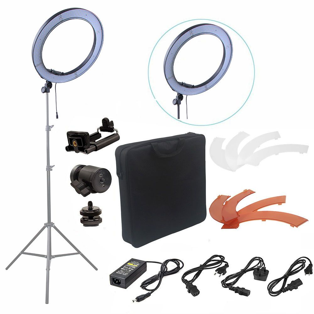Fusitu 18'' 240pcs LED 5500K Dimmable Photography Video LED Photo Ring Light Kit for DSLR Camera