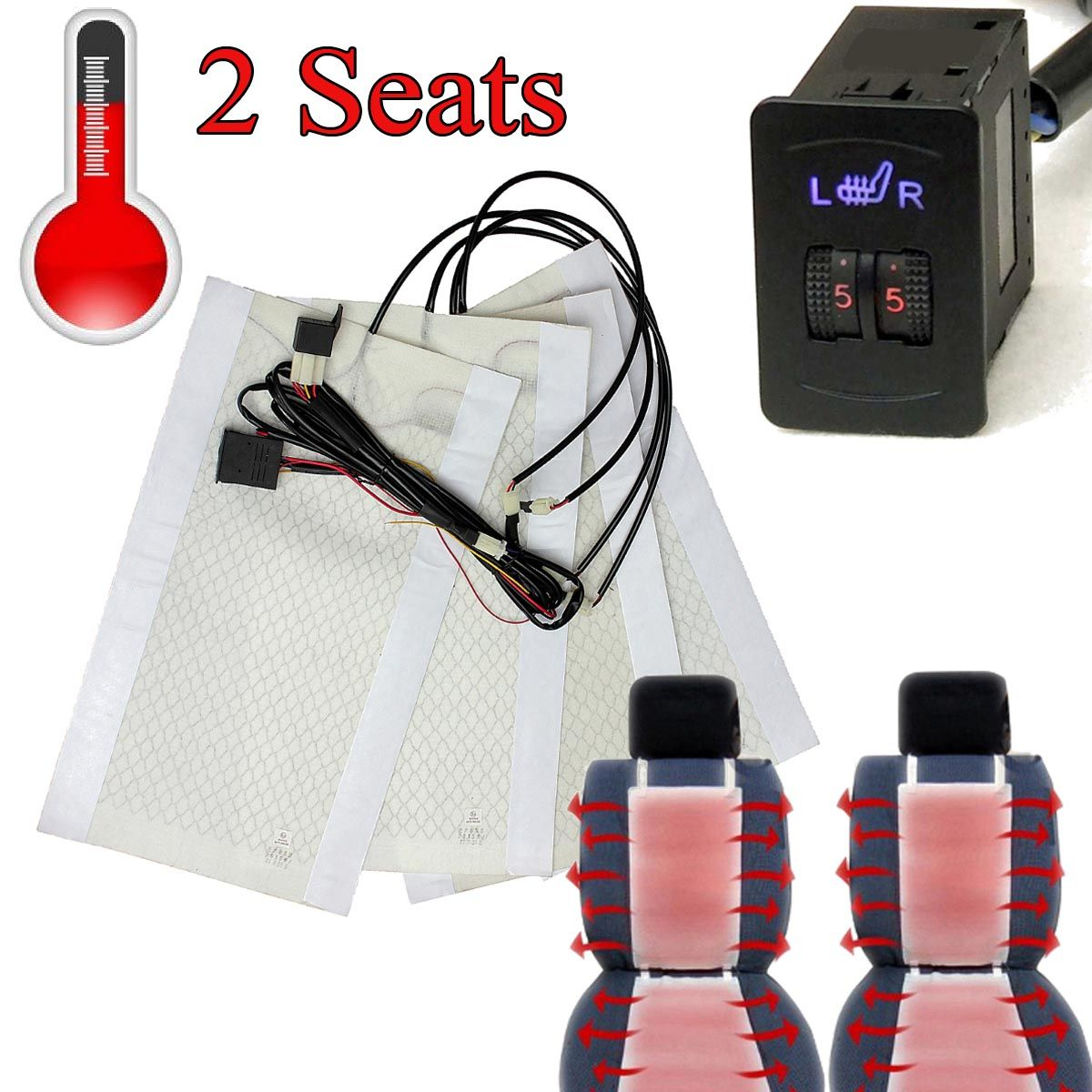 2 Seats 4 Pads Universal Carbo n Fiber Heated Seat Heater 12 V Pads 2 Dial 5 Level Switch  Winter Warmer Seat Covers
