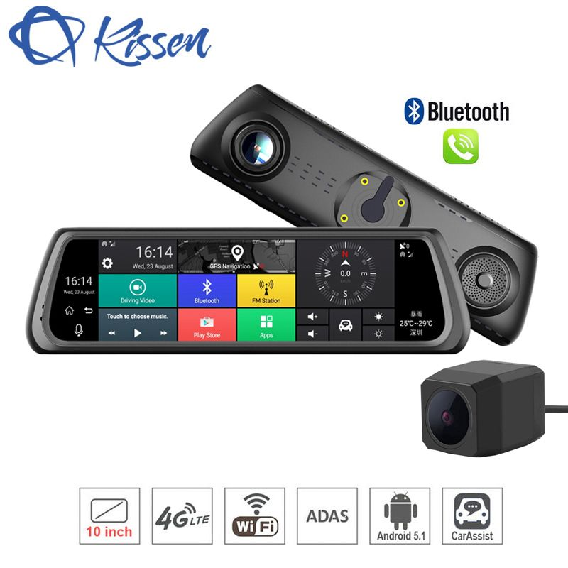 Kissen 4G Android 5.1 Car DVR 10 Inch Touch Dash Cam Car Rearview Mirror Dash Camera Dual Lens ADAS GPS Navigation Wifi Recorder