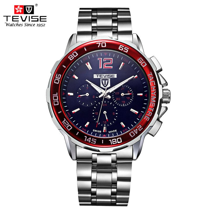 TEVISE Automatic Mechanical Watches Men <font><b>Self</b></font> Wind Auto Date Month Week Stainless Steel Luminous Analog Wristwatches 356