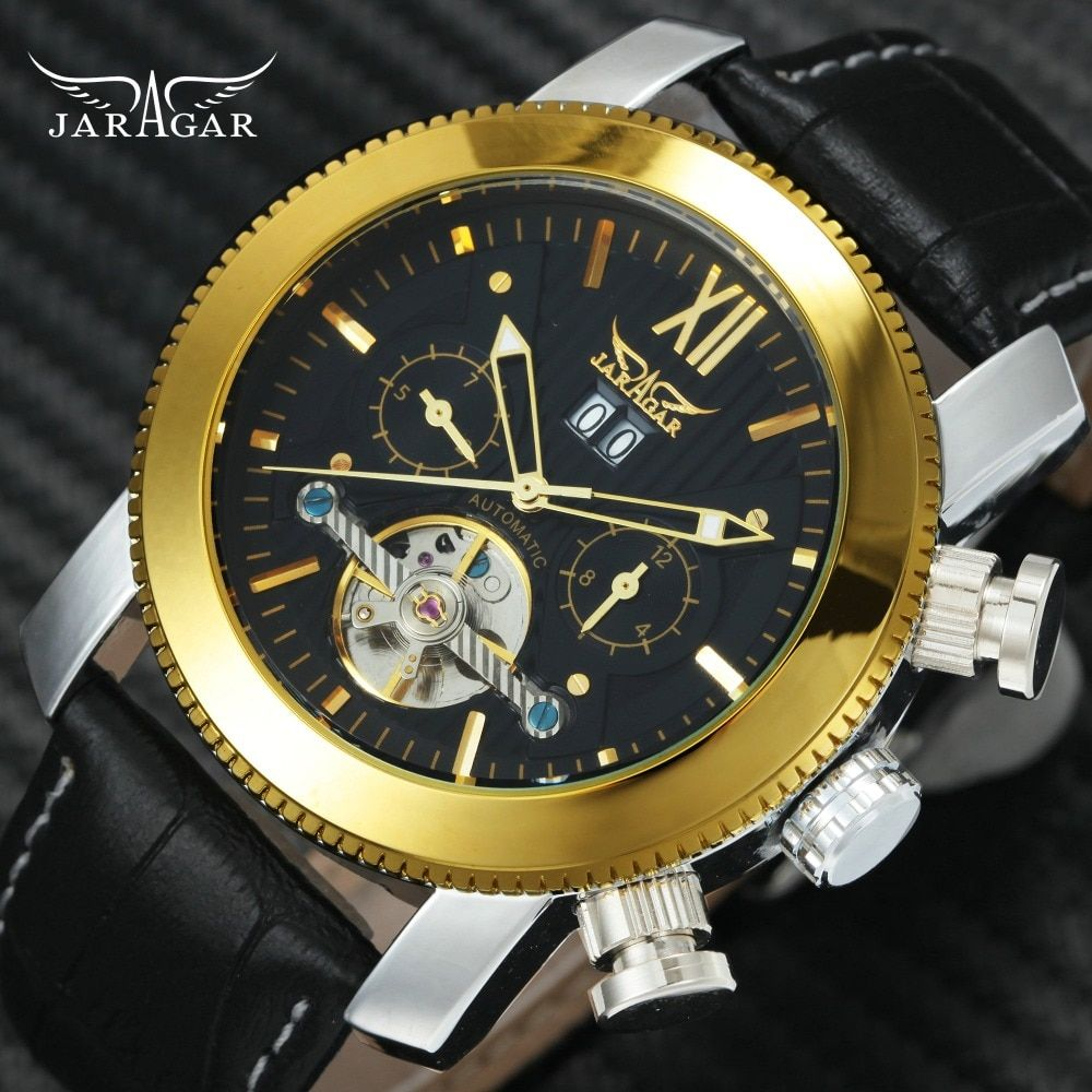 Top Brand Luxury WINNER Men's Tourbillon Automatic Mechanical Watches Genuine Leather Band Multi-function Calendar Men's Watches