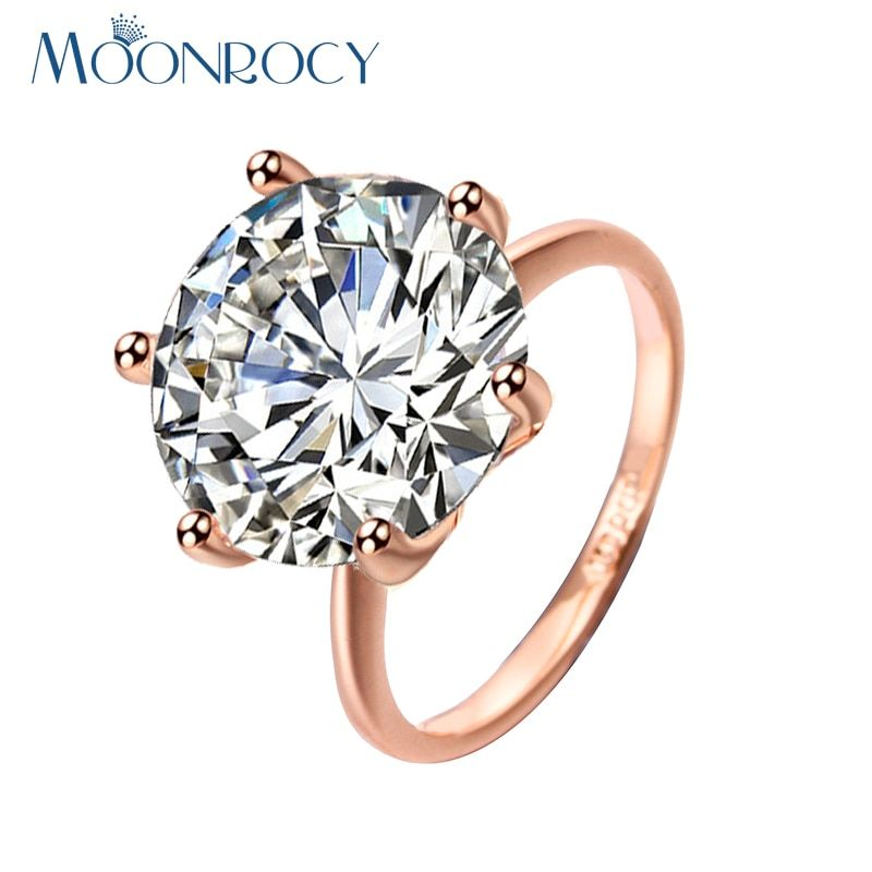 MOONROCY Free Shipping Fashion Jewelry 5 carat /3 carat Rose Gold Color Austrian Crystal Eagagement Wedding Ring for Women Gift