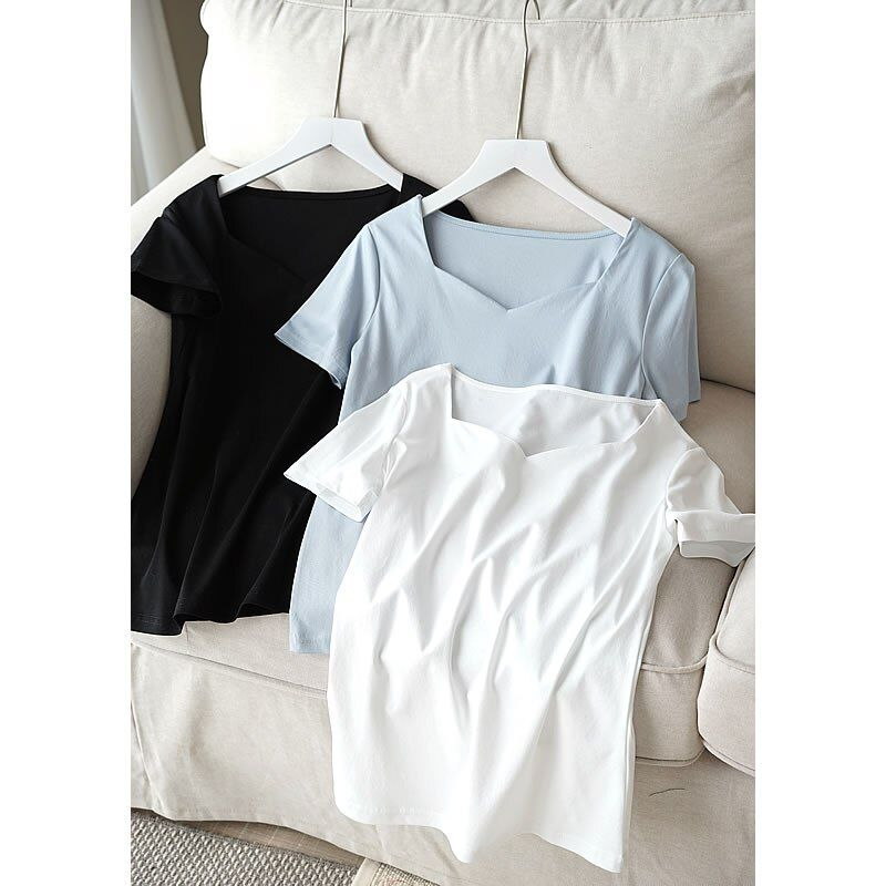 Exposed 80 Clavicle Cotton, New Smooth, Delicate, High Count Cotton All Dressed Short Sleeved T-shirt, Female Thin White T