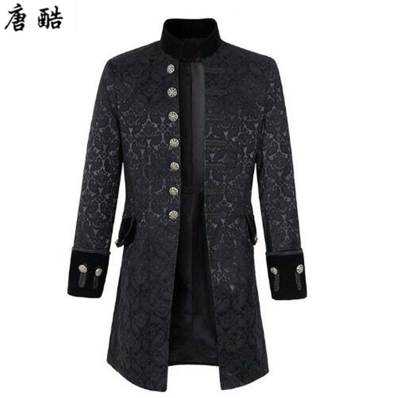European and American Gothic style medieval steam punk retro standing collar buckle embroidery large pendulum coat stage COS