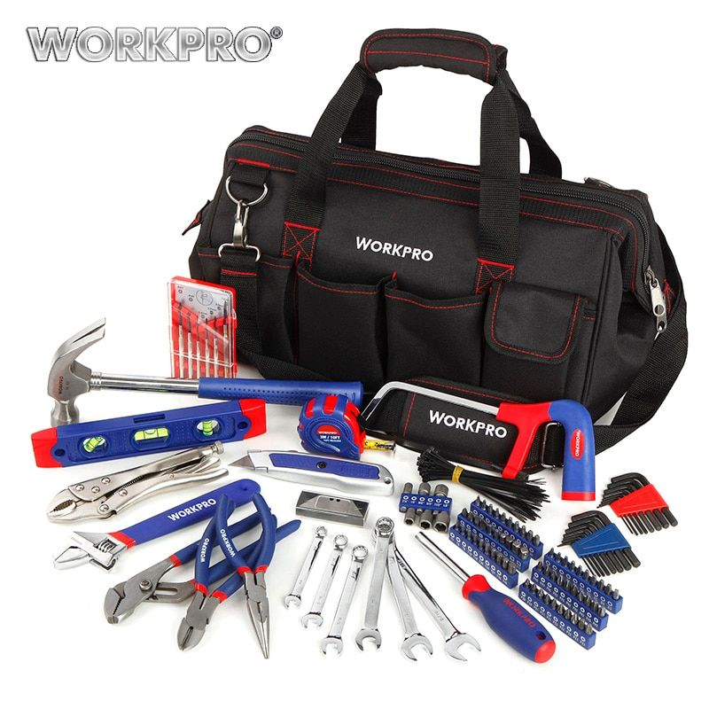 WORKPRO 156PC Home Tool Set Plumbing Plier Needle Nose Pliers Dual wrench Set Hammer Saw Screwdriver Bits Set Hex Key <font><b>Tape</b></font> Level