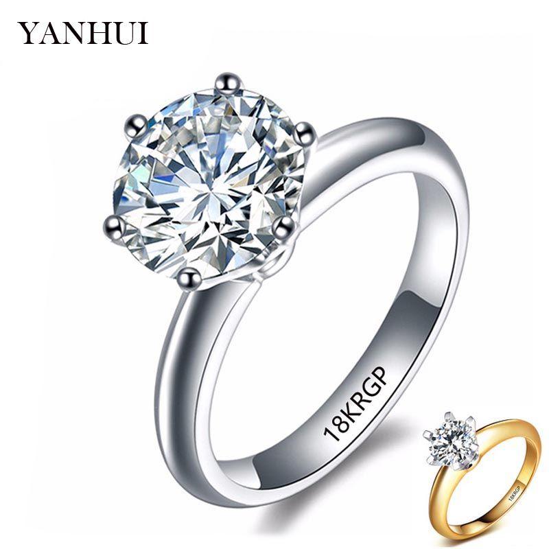 YANHUI 100% Reine Original Gold Gefüllt Ring Mode Schmuck 2 Karat Weiß Solitaire Zirkonia Hochzeit Ringe für Frauen HR1689