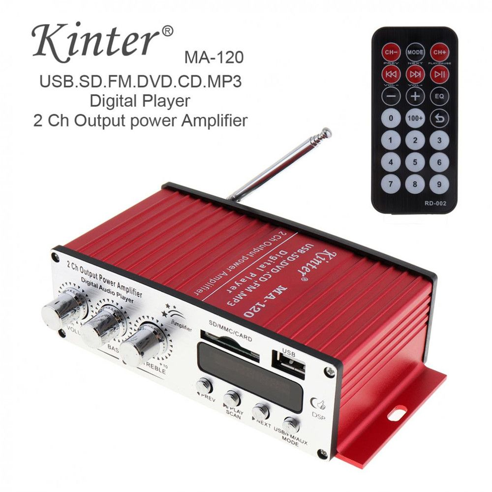12V 20W X 2 HiFi 2 Channel Output Power Amplifier FM Radio Stereo Player Support USB / SD / DVD / MP3 Input with Remote Contro