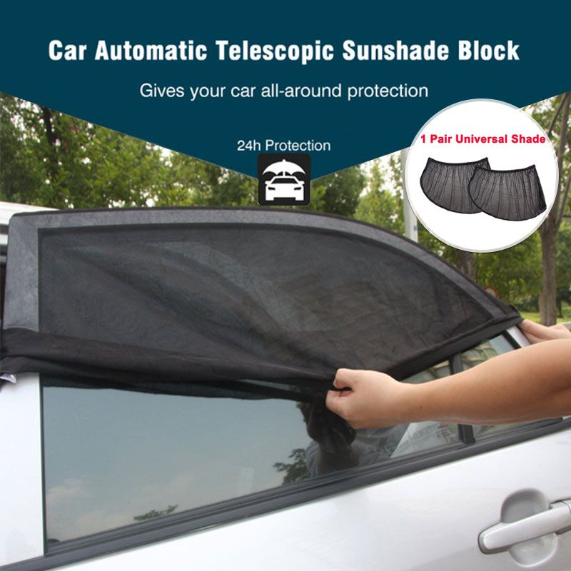 2Pcs/set Auto Car Sunshade 100x52cm Side Rear Window Sun Shade Mesh Car Visor Shield Cover UV Protection Adjustable Curtain