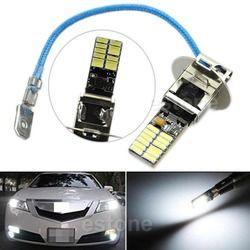 Styling mobil 6500 K HID Putih 24-SMD-4014 H3 LED Bulbs untuk Lampu Kabut atau Lampu Driving