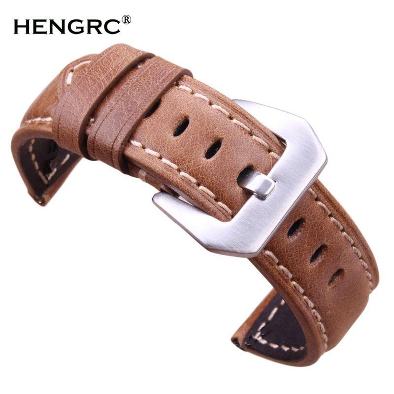 Bracelets Rétro En Cuir Véritable Brun Hommes 20mm 22mm 24mm Montre Molle Bande Bracelet Métal Boucle Ardillon Accessoires relojes Hombre 2016