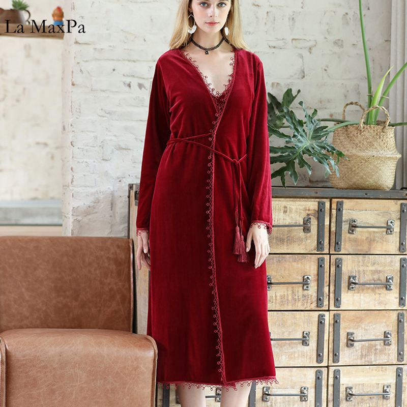 Luxury Female Autumn Winter Nightgown Long Sleeve Velvet Soft Warm Solid Sleepwear Pajamas Sets Negligee for Women