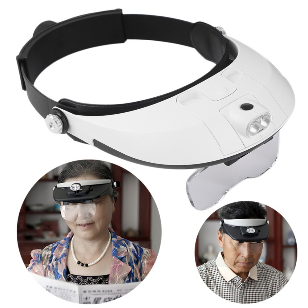 Hot 2 LED Headband Glasses Illuminated Magnifier Loupe Single/Bi-plate 11 Magnifications 5 <font><b>lens</b></font> New