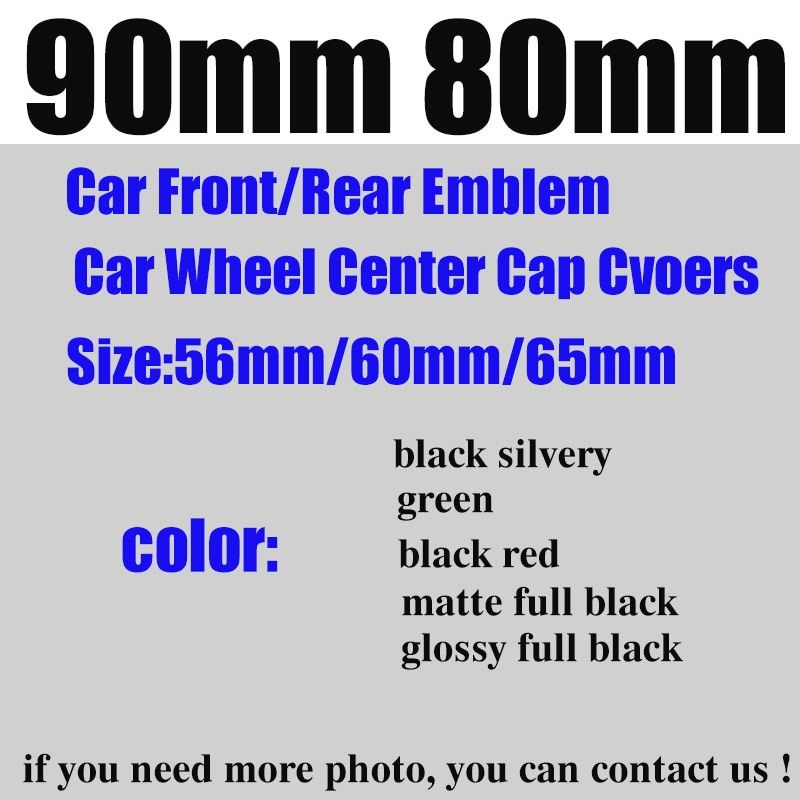 Car Styling Front/rear Emblem 90mm 80mm wheel center cap 65mm/60mm/56mm green/black silvery/full black/black red/matte/glossy
