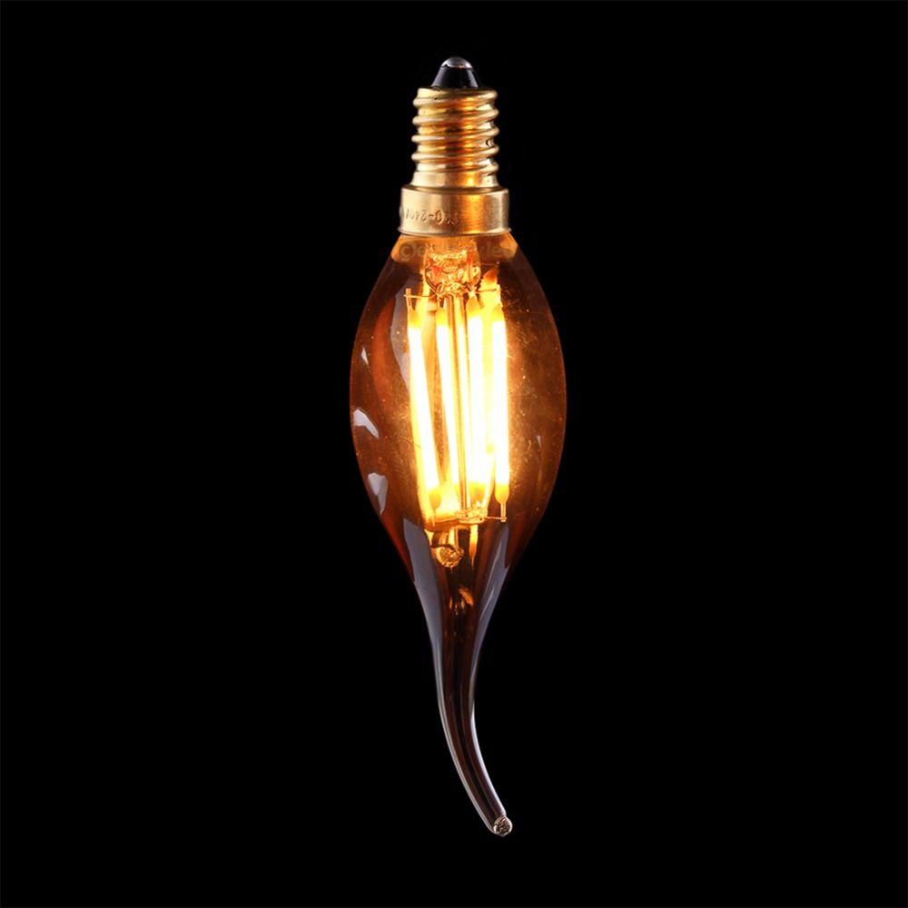 Ampoule à Filament Vintage LED, 4 W 2200 K, teinte or, Style à pointe de flamme Edison Dimmable C35T, Base E12 E14, décor de maison de lustre