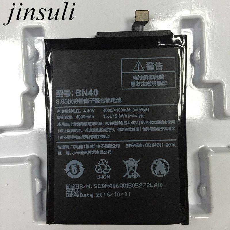 Jinsuli BN40 Batterie Pour Xiaomi Redmi 4 Pro Premier 3G RAM 32G ROM Édition Redrice 4 Hongmi 4 Bateria Accumulateur